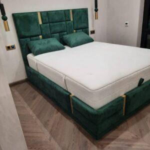 Кровать с подъемным механизмом и мягким изголовьем зеленая